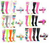 24 Units of Women's Knee High Novelty Socks - Assorted Neon Prints - Size 9-11 - 4-Pair Packs