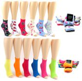 120 Units of Women's Pedicure Socks - Prints & Solid Colors - Size 9-11