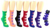 24 Units of Women's Novelty Crew Socks - Marijuana Leaf Print - Size 9-11