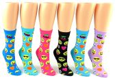 24 Units of Women's Novelty Crew Socks - Emoji Prints - Size 9-11