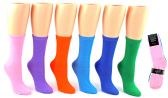 24 Units of Women's Novelty Crew Socks - Solid Colors - Size 9-11