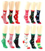 24 Units of Christmas Crew Socks - Size 9-11