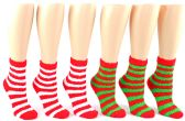 24 Units of Fuzzy Christmas Socks - Size 9-11