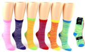 24 Units of Women's Novelty Crew Socks - Lined Patterns - Size 9-11 - Womens Crew Sock