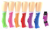 24 Units of Women's Novelty Crew Socks - Sneaker Print - Size 9-11 - Womens Crew Sock