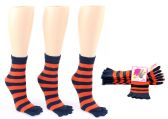 24 Units of Women's Toe Socks - Blue & Orange Striped Print - Size 9-11 - Women's Toe Sock