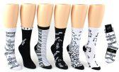 24 Units of Women's Novelty Crew Socks - Music Prints - Size 9-11 - Womens Crew Sock