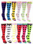 24 Units of Women's Knee High Novelty Socks - Argyle Print - Size 9-11 - Womens Knee Highs