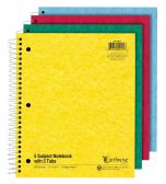 24 Units of TOPS Earthwise by Ampad 5 Subject Notebooks with Tabs, 11 x 8.875, Assorted, 15lb. Paper - Note Books & Writing Pads