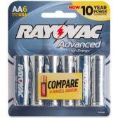 72 Units of Rayovac 815-6HEF Mercury Free High Energy Alkaline Batteries, AA 6 Pk - Office Supplies