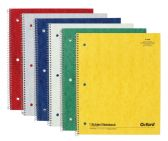 8 Units of TOPS Oxford™ Single Wire Notebook, 11 x 8-7/8, 1 Subject, Assorted Covers, 70 Sheets, College Ruled, 6-PACK - Notebooks