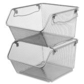 Lorell Mesh Stacking Storage Bin - Storage and Organization