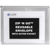 C-line Zip 'N Go Reusable Envelope with Outer Pocket, Clear, 3/PK, 48117 - Envelopes