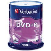 Verbatim 95098 DVD Recordable Media - DVD+R - 16x - 4.70 GB - 100 Pack Spindle - Data Media