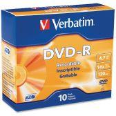 Verbatim 95099 DVD Recordable Media - DVD-R - 16x - 4.70 GB - 10 Pack Slim Case - Data Media