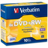 Verbatim DataLifePlus 94839 DVD Rewritable Media - DVD+RW - 4x - 4.70 GB - 10 Pack Slim Case - Data Media