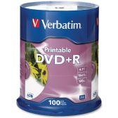 Verbatim DVD Recordable Media - DVD+R - 16x - 4.70 GB - 100 Pack Spindle - Retail - Data Media
