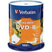 Verbatim DVD Recordable Media - DVD-R - 16x - 4.70 GB - 100 Pack - Data Media