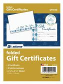 8 Units of Adams Card, Folded Gift Certificate, 20 Cards and Envelopes per Pack - Envelopes