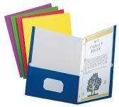 5 Units of School Grade Two Pocket Portfolio, Fasteners, Assorted Colors, 25 Pack - Fasteners