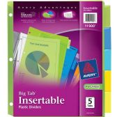 Avery Big Tab Plastic Insertable Divider - Dividers & Index Cards