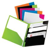 25 Units of Oxford Divide It Up 4 Pocket Twisted Twin Portfolio, Poly, Assorted Colors, 25 Per Carton - Folders & Portfolios