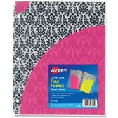 Avery Corner Lock Four-Pocket Plastic Folder 47715, Damask, 1 Folder - Folders & Portfolios