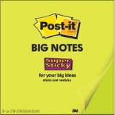 Post-it® Super Sticky Big Note, 22 in. x 22 in., Neon Green - Office Supplies