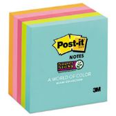 Super Sticky Pads in Miami Colors, 3 x 3, Miami, 90/Pad, 5 Pads/Pack - Adhesive note