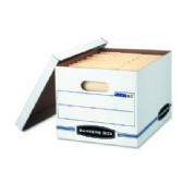 Fellowes Bankers Box, EasyLift Storage Box, Letter Size,Lift-Off Lid, White/Blue, 12PK - Office Accessories