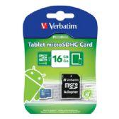 Verbatim Tablet microSDHC Memory Card, 44043, 16GB, UHS-1, Class 10, TAA - Flash Drives