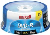 Maxell DVD-R, 4.7GB, 16x, Branded, 25pk Spindle - CD/DVD/BDR