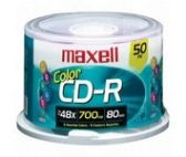 Maxell CD-R, 700mb, 48x, 80 min, Branded, 50pk Spindle - CD/DVD/BDR