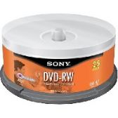 Sony DVD-RW, 25DMW47SPM, 4.7GB, 2x, 25pk Spindle - CD/DVD/BDR