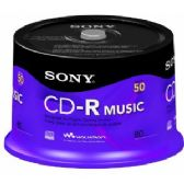 Sony CD-R, 80 min, 50CRM80RS, Branded, Music, 50pk Spindle - CD/DVD/BDR