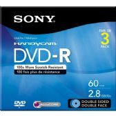 Sony DVD-R, 3DMR60L1H, 2.8GB, 8CM, Double Sided, 3pk with Hang Tab - CD/DVD/BDR