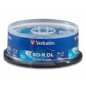 Verbatim BD-R DL, 98356, 50GB, 6X, Branded, 25PK Spindle, TAA - CD/DVD/BDR
