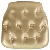 Hard Gold Tufted Vinyl Chiavari Chair Cushion - Cushions