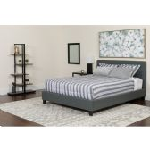 Chelsea Queen Size Upholstered Platform Bed in Dark Gray Fabric with Pocket Spring Mattress - Beds