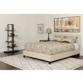Chelsea Full Size Upholstered Platform Bed in Beige Fabric with Pocket Spring Mattress - Beds