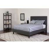 Roxbury Queen Size Tufted Upholstered Platform Bed in Dark Gray Fabric with Pocket Spring Mattress - Beds