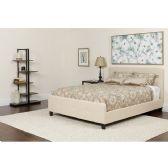 Tribeca King Size Tufted Upholstered Platform Bed in Beige Fabric - Beds