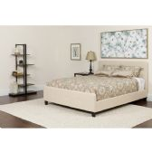 Tribeca Queen Size Tufted Upholstered Platform Bed in Beige Fabric with Pocket Spring Mattress - Beds