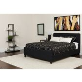 Tribeca Full Size Tufted Upholstered Platform Bed in Black Fabric with Pocket Spring Mattress - Beds