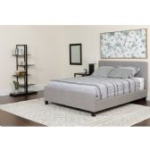 Tribeca Queen Size Tufted Upholstered Platform Bed in Light Gray Fabric with Pocket Spring Mattress - Beds