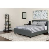 Tribeca Queen Size Tufted Upholstered Platform Bed in Dark Gray Fabric with Pocket Spring Mattress - Beds