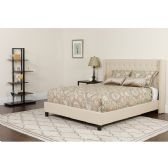 Riverdale Queen Size Tufted Upholstered Platform Bed in Beige Fabric - Beds