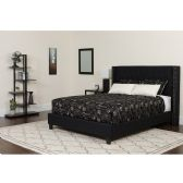 Riverdale Queen Size Tufted Upholstered Platform Bed in Black Fabric - Beds