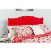 Lexington Upholstered Queen Size Headboard with Accent Nail Trim in Red Fabric - Headboards