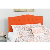 Cambridge Tufted Upholstered King Size Headboard in Orange Fabric - Headboards